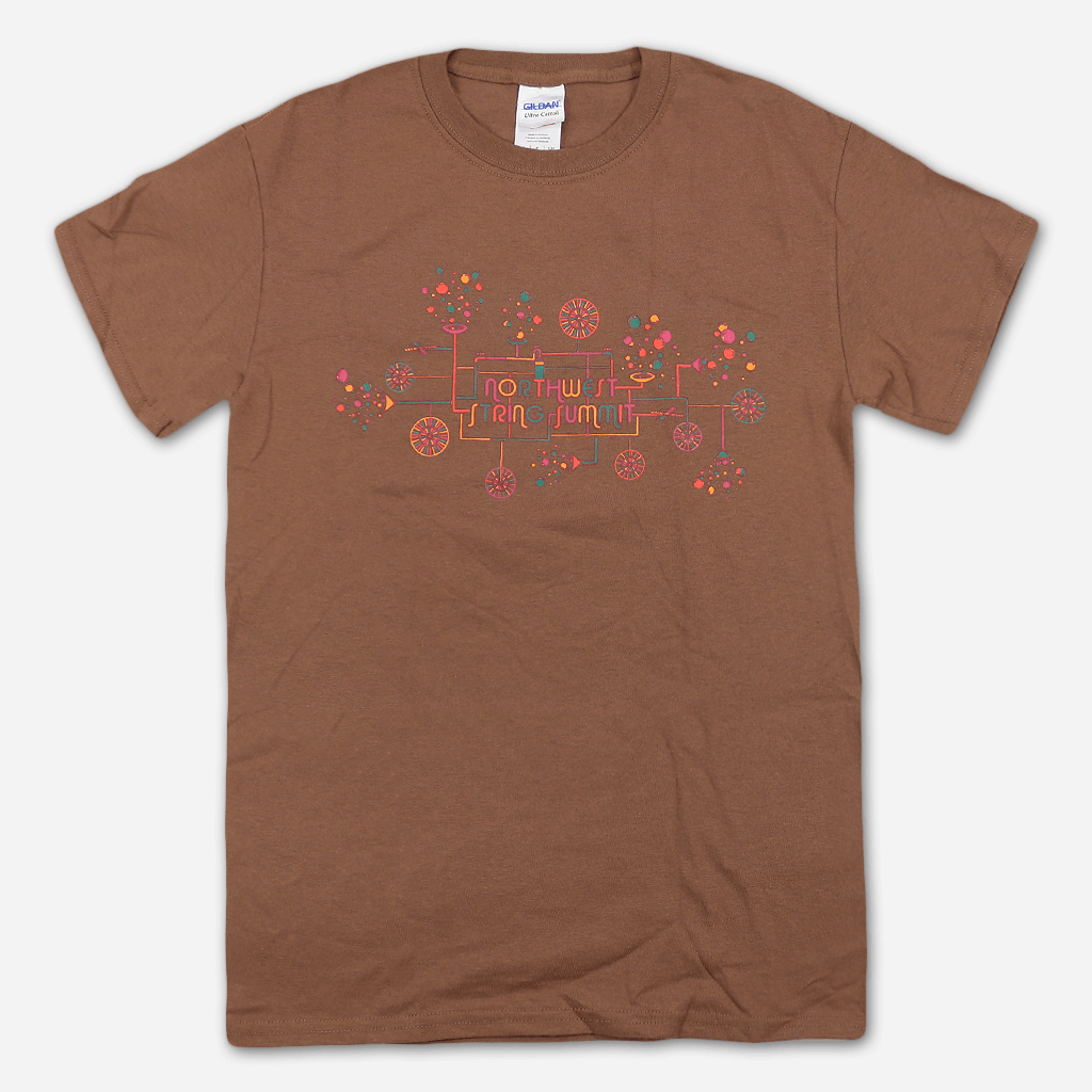 Bubble Machine Brown T-Shirt - Northwest String Summit - Hello Merch