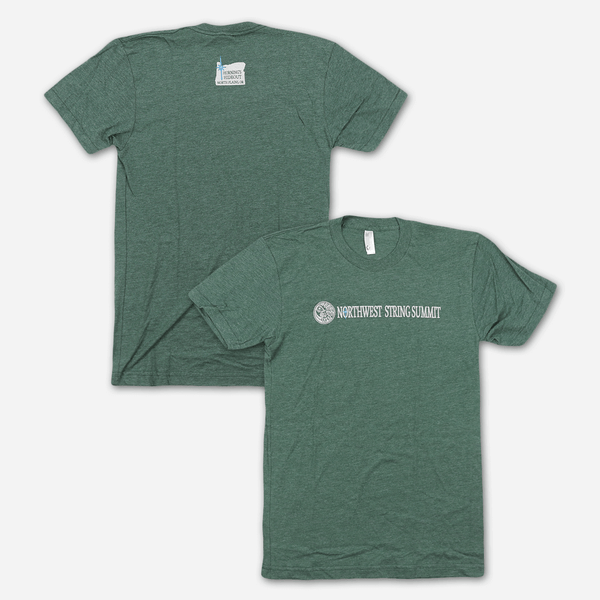 Wordmark Green T-Shirt by Northwest String Summit for sale on hellomerch.com