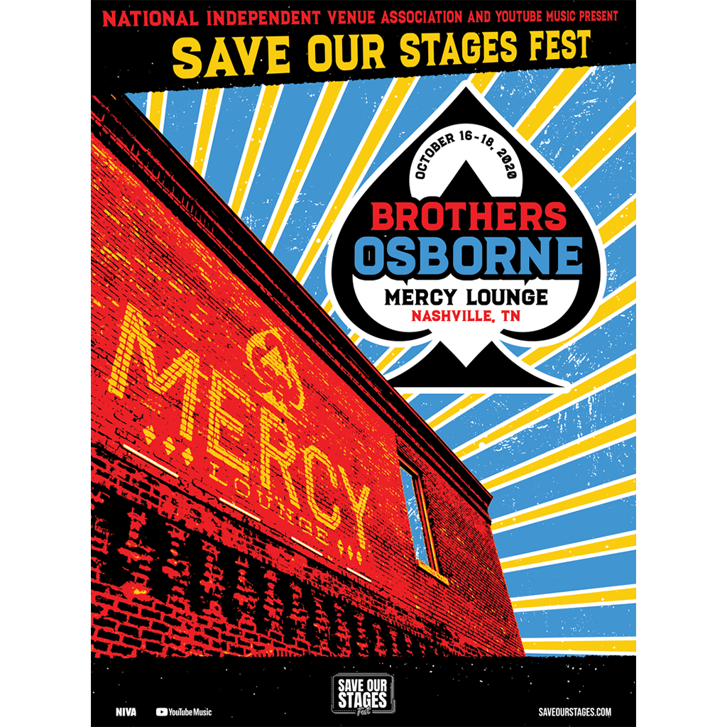 Brothers Osborne Live at Mercy Lounge - Hand Screen-Printed Poster