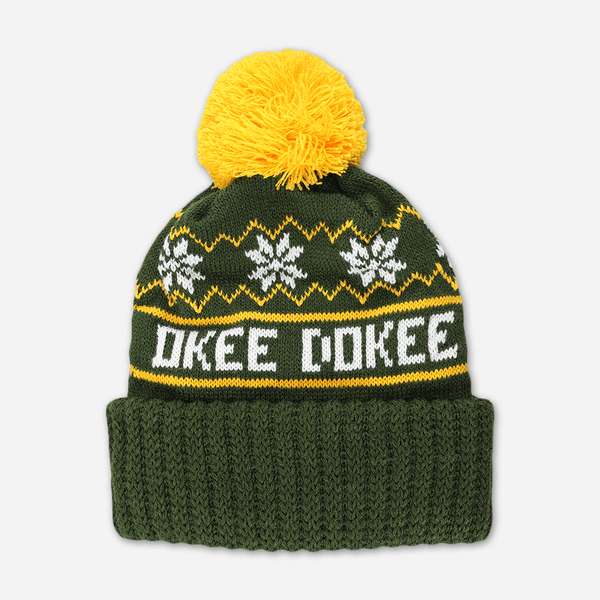 Okee Dokee Youth Green & Gold Pom Winter Beanie by The Okee Dokee Brothers for sale on hellomerch.com