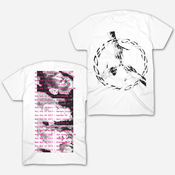 Peace Tour White T-Shirt by Death Grips for sale on hellomerch.com
