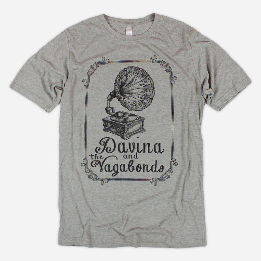 Phonograph Silver T-Shirt - Davina and The Vagabonds - Hello Merch