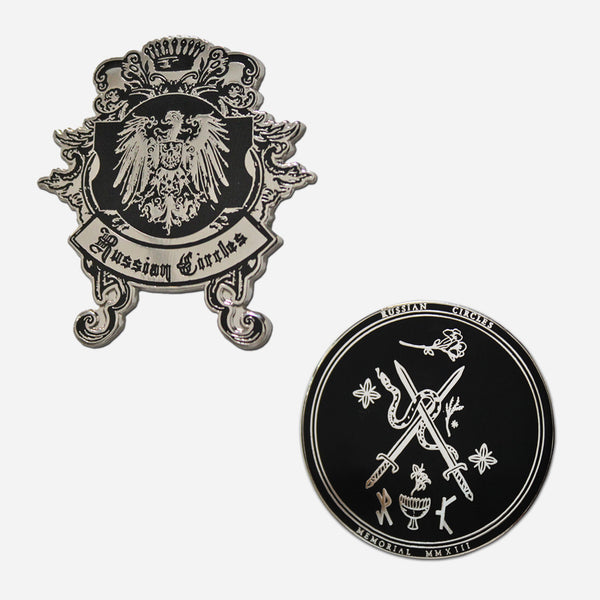 RC Black & Silver Enamel Pins by Russian Circles for sale on hellomerch.com
