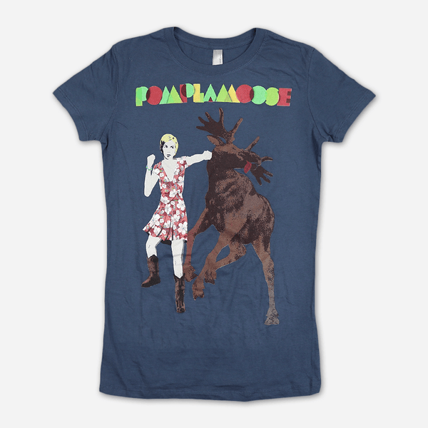 Nataly Moose Punch Women's Indigo T-Shirt by Pomplamoose for sale on hellomerch.com