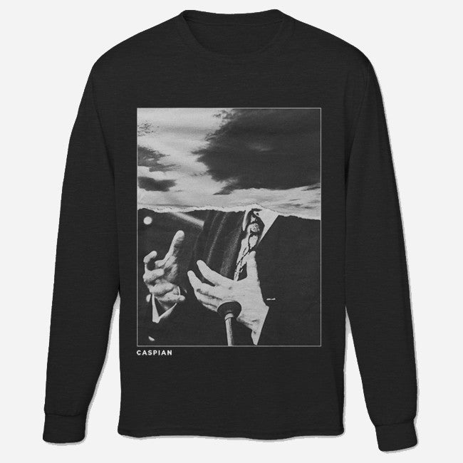 Poster Print Black Crew Neck Pullover Sweatshirt - Caspian - Hello Merch