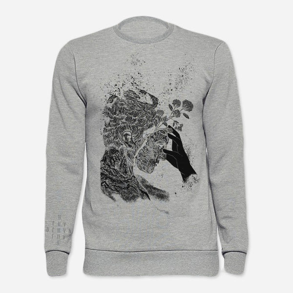 Proteau Heather Grey Crew Neck Pullover Sweatshirt by Deafheaven for sale on hellomerch.com