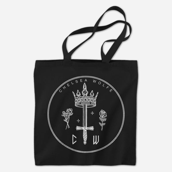 Queen Of Swords Black Tote Bag by Chelsea Wolfe for sale on hellomerch.com