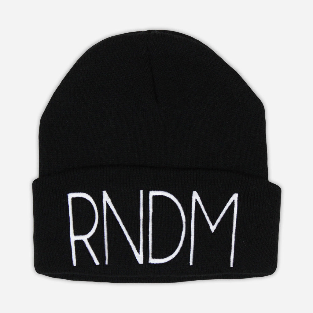RNDM Stitched Black Beanie - Mega Ran - Hello Merch