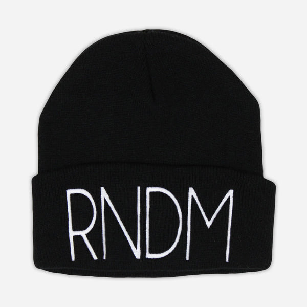 RNDM Stitched Black Beanie by Mega Ran for sale on hellomerch.com