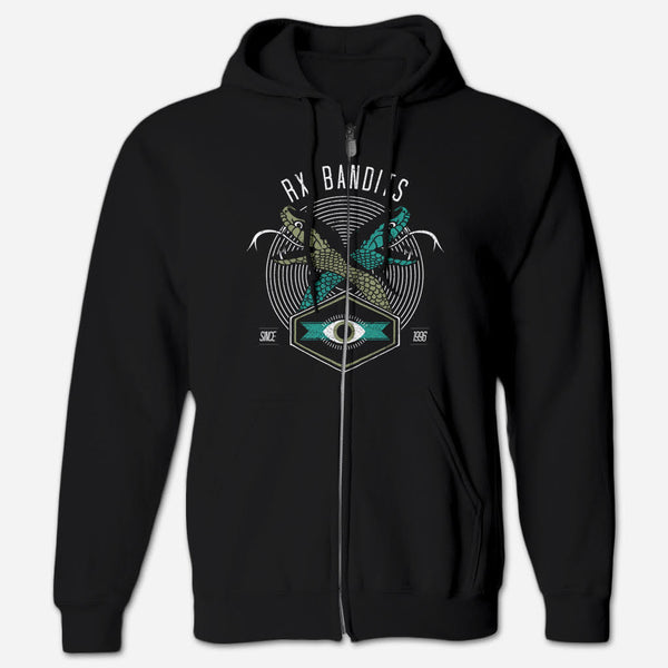RXB Snakes Flex Fleexe Zip Hoodie by RX Bandits for sale on hellomerch.com