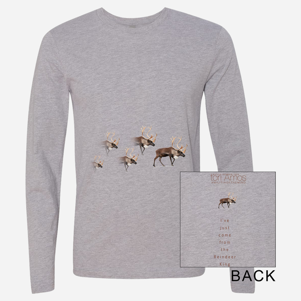 Reindeer Heather Grey Long Sleeve T-Shirt by Tori Amos for sale on hellomerch.com