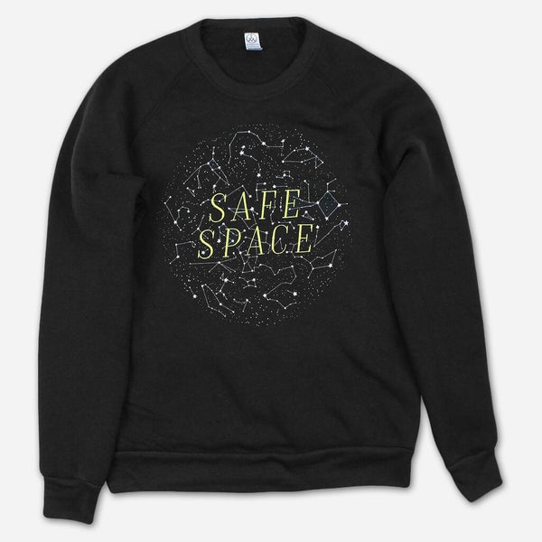 Safe Space Eco-Fleece Black Sweatshirt by Autostraddle for sale on hellomerch.com