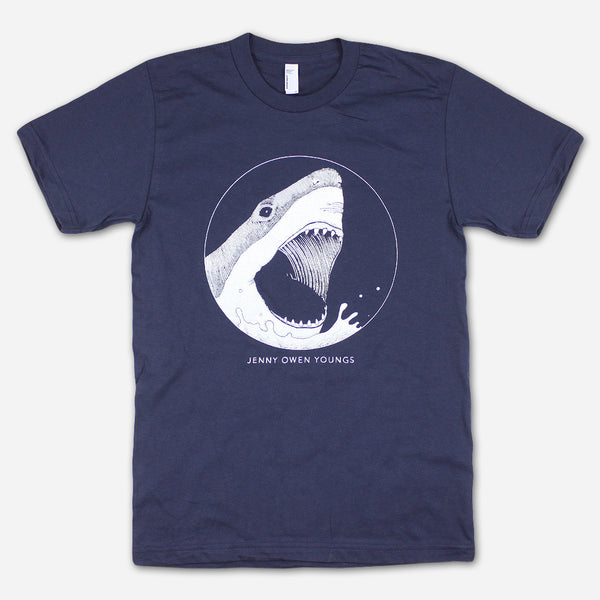 SHARK! Navy T-Shirt by Jenny Owen Youngs for sale on hellomerch.com