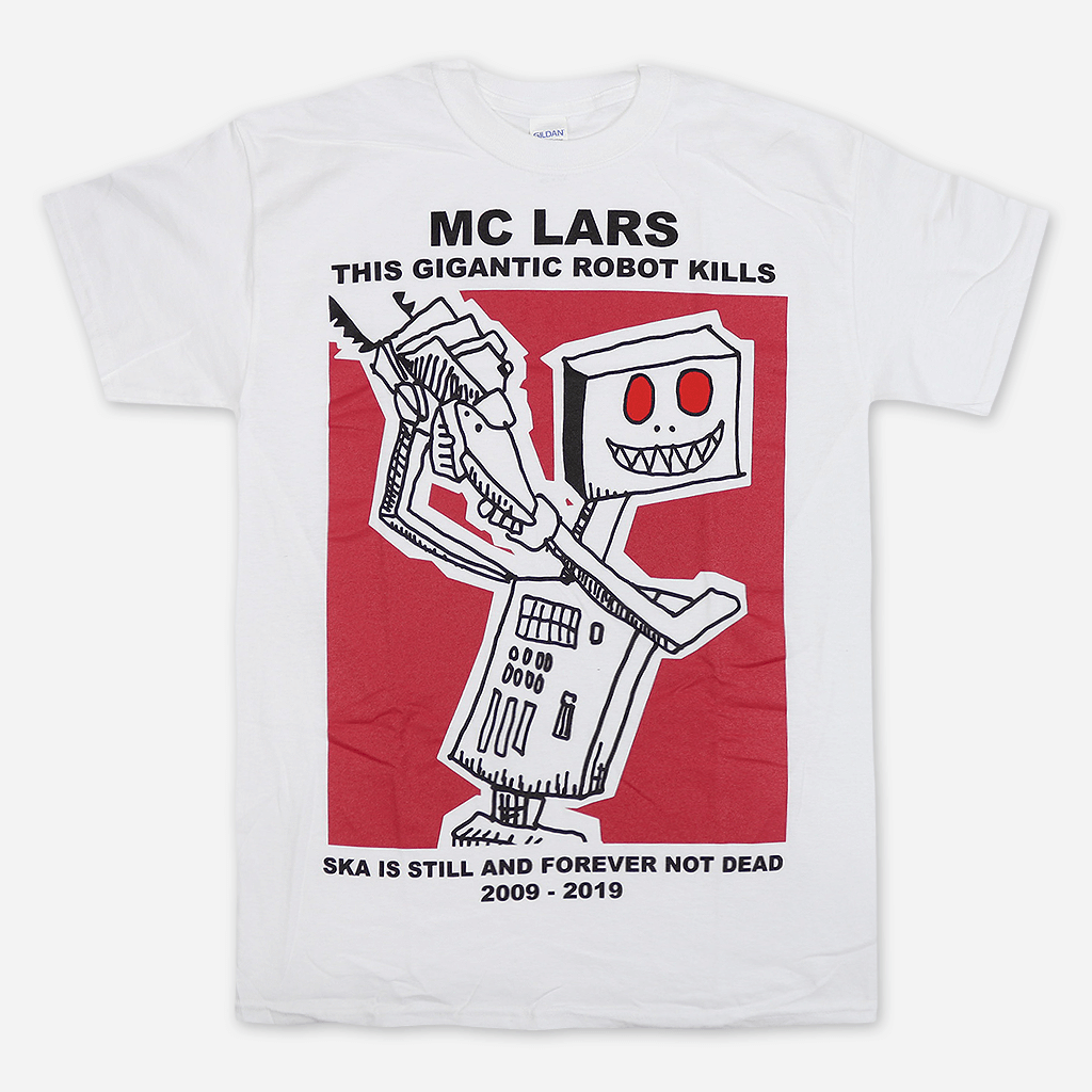 """Robot Kills 10 Year Anniversary"" White T-Shirt"