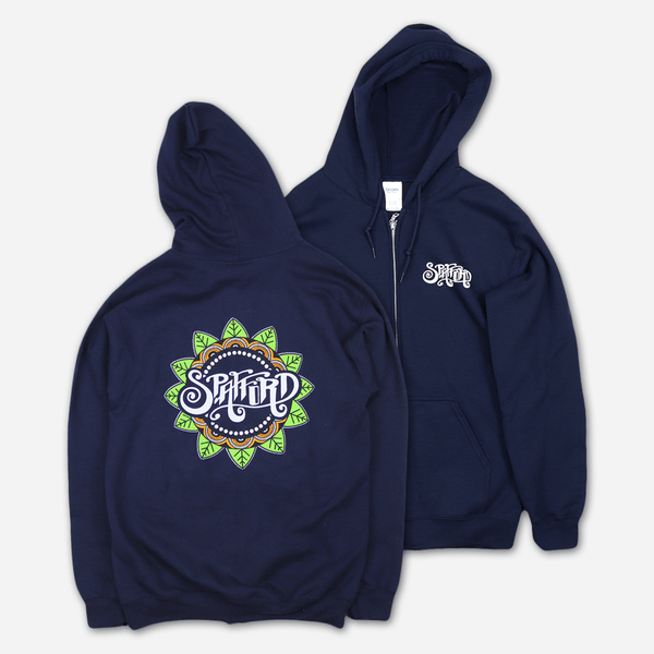 Mandala Navy Zip Hoodie by Spafford for sale on hellomerch.com