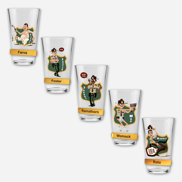 Super Troopers Pint Glass & Name Badge Bundle by Broken Lizard for sale on hellomerch.com