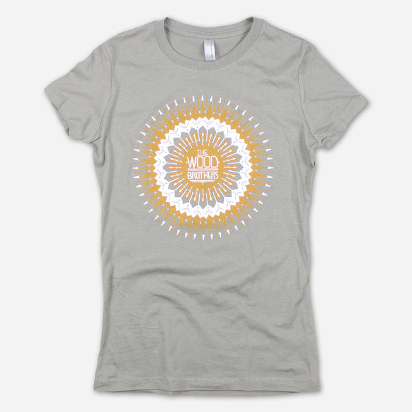 Sun Mandala Women's Grey T-Shirt by The Wood Brothers for sale on hellomerch.com