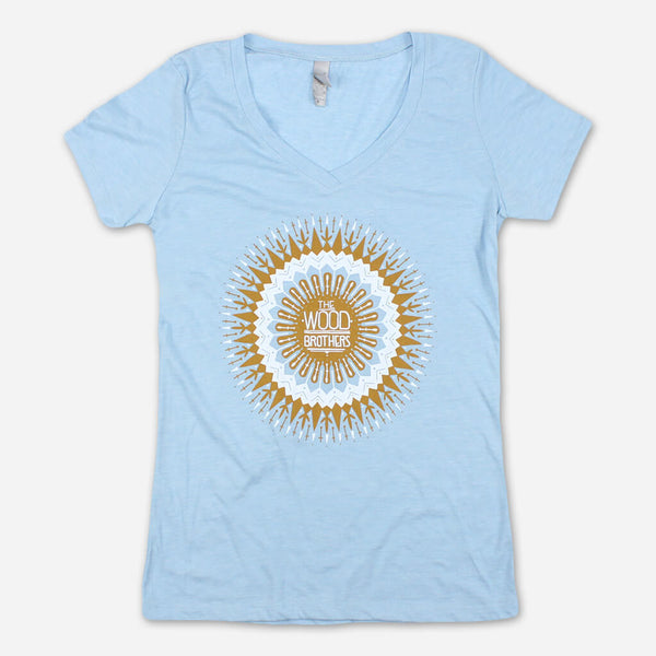 Sun Mandala Women's Blue V-Neck T-Shirt by The Wood Brothers for sale on hellomerch.com