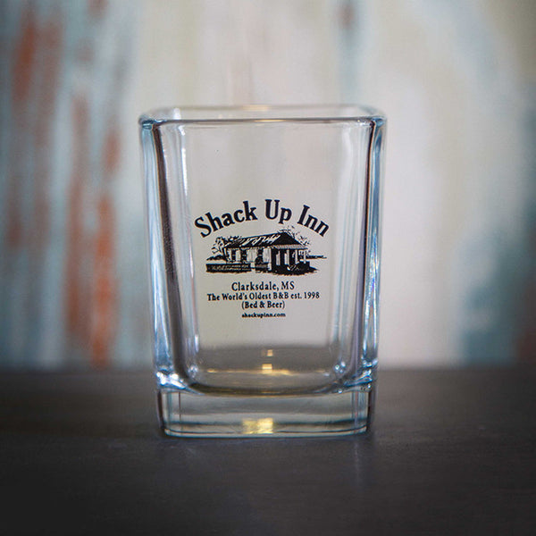 SUI Logo Shot Glass by Shack Up Inn for sale on hellomerch.com