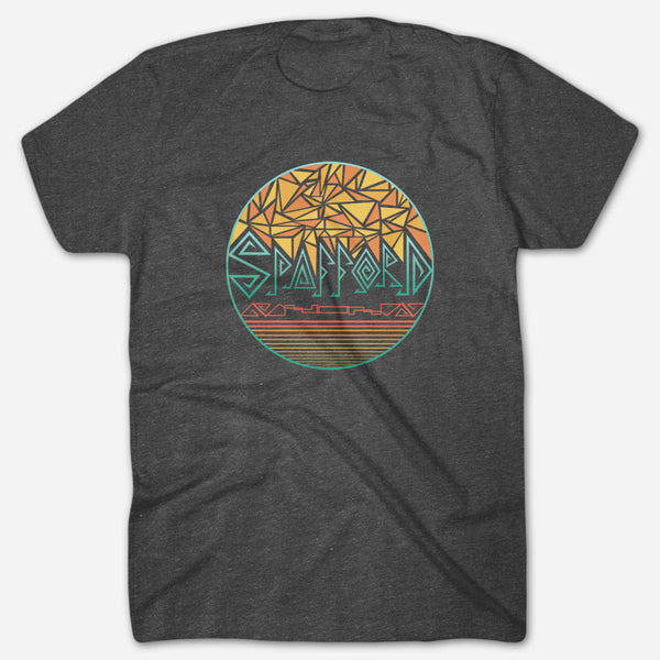 Stained Glass Heather Graphite T-Shirt by Spafford for sale on hellomerch.com