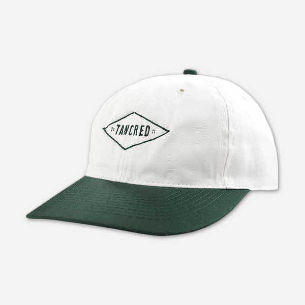 40127a65990d98 Circa 2011 White & Green Dad Hat by Tancred for sale on hellomerch.com