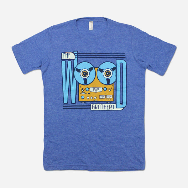Tape Machine Women's Blue T-Shirt by The Wood Brothers for sale on hellomerch.com