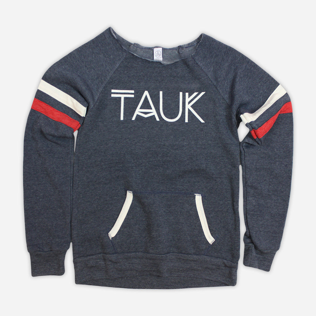 Logo Womens Eco True Navy Pullover Sweatshirt - TAUK - Hello Merch