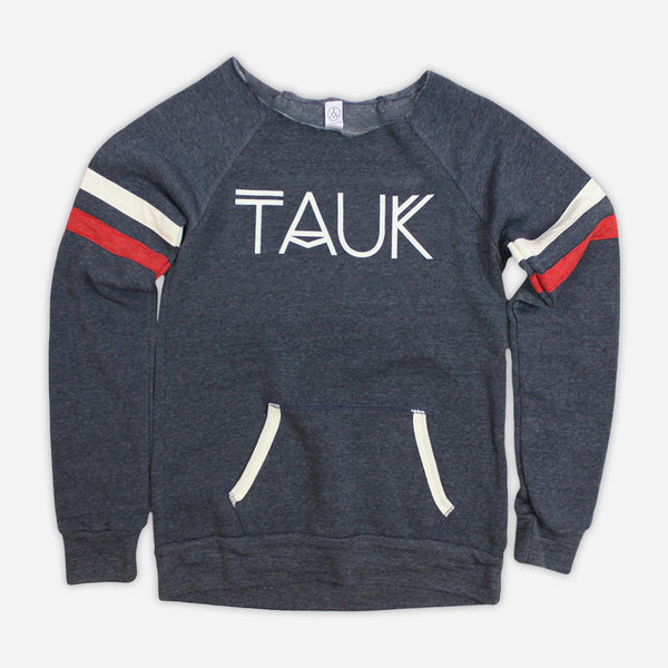 Logo Womens Eco True Navy Pullover Sweatshirt by TAUK for sale on hellomerch.com