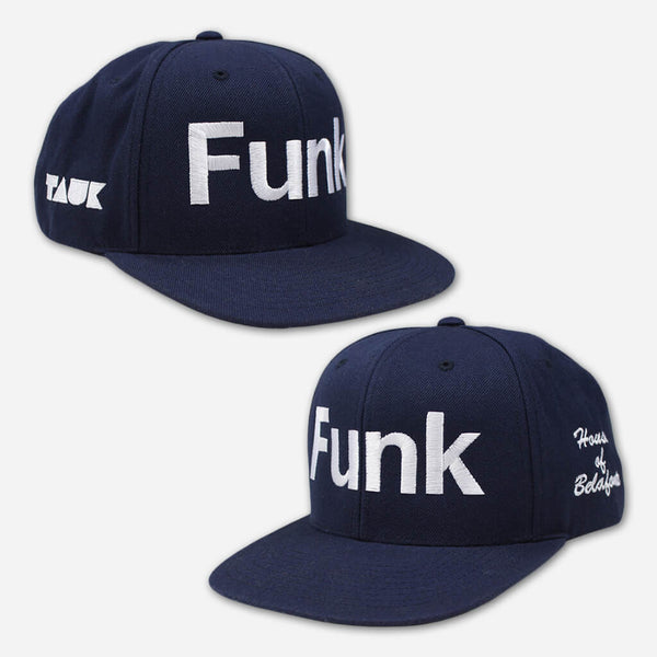 Funk Navy and White Snapback Hat by TAUK for sale on hellomerch.com