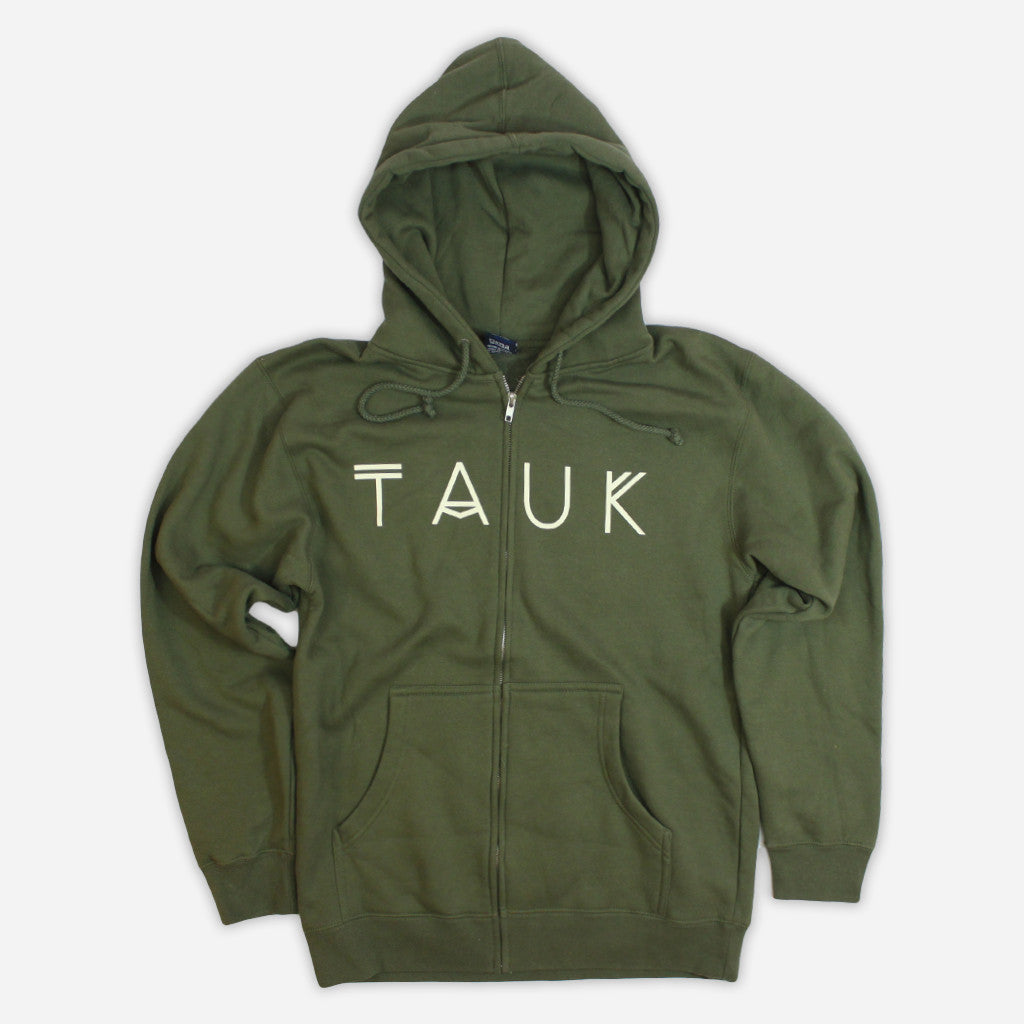 Logo Green Zip Hoodie - TAUK - Hello Merch