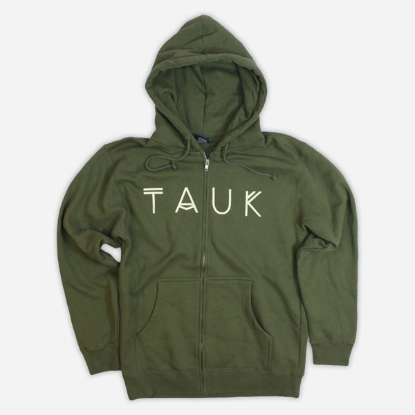 Logo Green Zip Hoodie by TAUK for sale on hellomerch.com