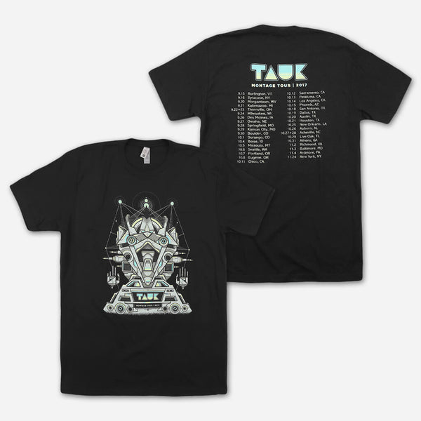 Montage Tour Unisex Black T-Shirt by TAUK for sale on hellomerch.com