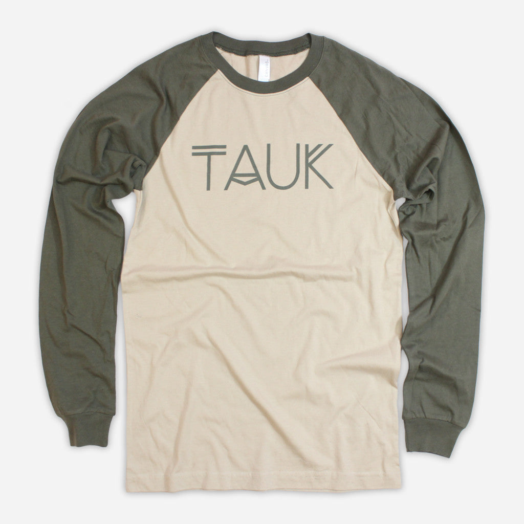 Logo Tan/Army Baseball Long Sleeve T-Shirt