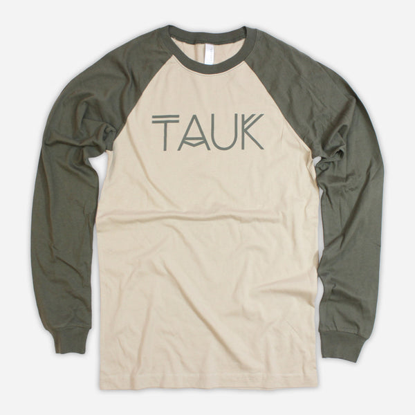 Logo Tan/Army Baseball Long Sleeve T-Shirt by TAUK for sale on hellomerch.com