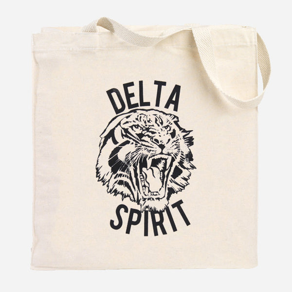 Tiger Natural Canvas Tote Bag by Delta Spirit for sale on hellomerch.com