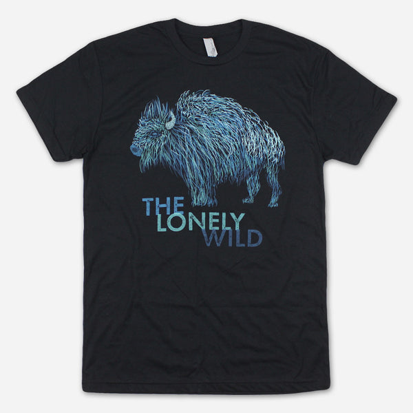 Blue Buffalo Black T-Shirt by The Lonely Wild for sale on hellomerch.com