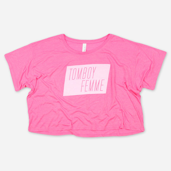 Tomboy Femme Pink Crop Top by Autostraddle for sale on hellomerch.com