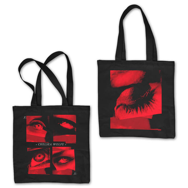 Kraw Eye Object Double Sided Black Tote Bag by Chelsea Wolfe for sale on hellomerch.com