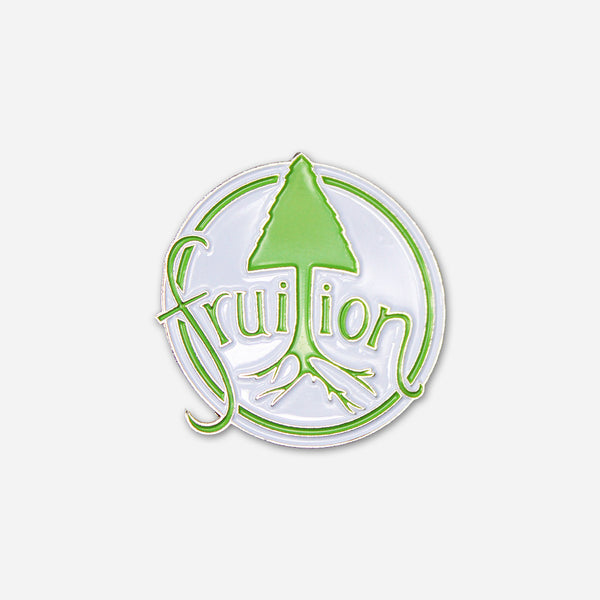 Tree Logo Hat Pin White w/Green & Nickel by Fruition for sale on hellomerch.com