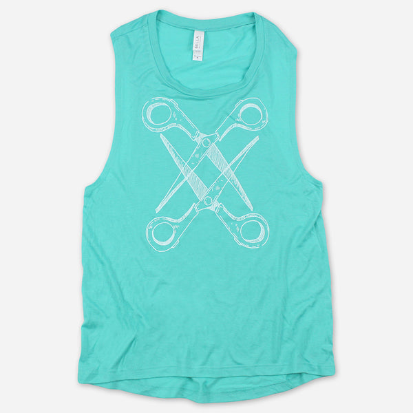 Basic Scissoring Turquoise Muscle Tank by Autostraddle for sale on hellomerch.com