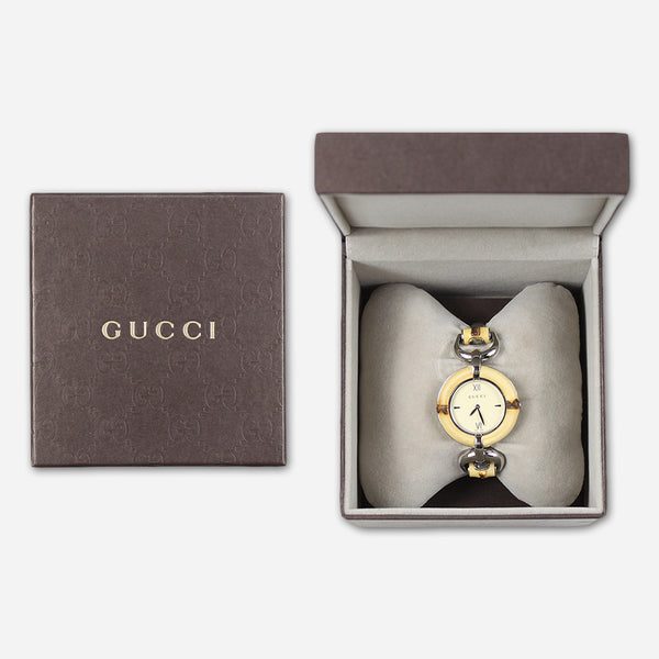 Gucci Women's Bamboo Ivory Cream Stainless Steel Watch by Dia Frampton for sale on hellomerch.com