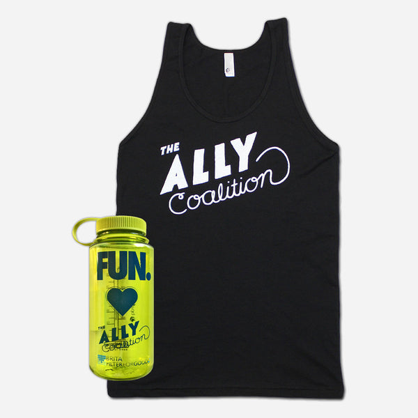 Rachel Black Poly-Cotton Tank & TAC Water Bottle (Fun Edition) by The Ally Coalition for sale on hellomerch.com