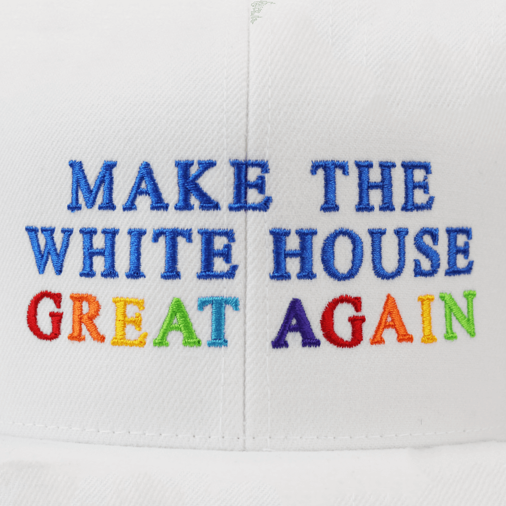 Make The White House Great Again™ Rainbow Stitch on White Snapback Hat