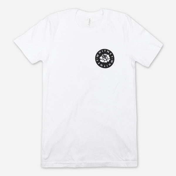 Circle White T-Shirt by Whitney for sale on hellomerch.com