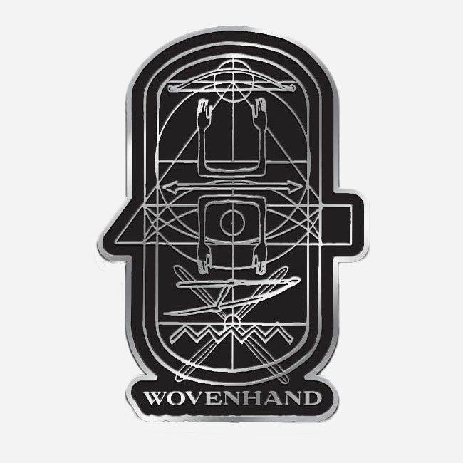 Refractory Obdurate Black & Silver Enamel Pin - Wovenhand - Hello Merch