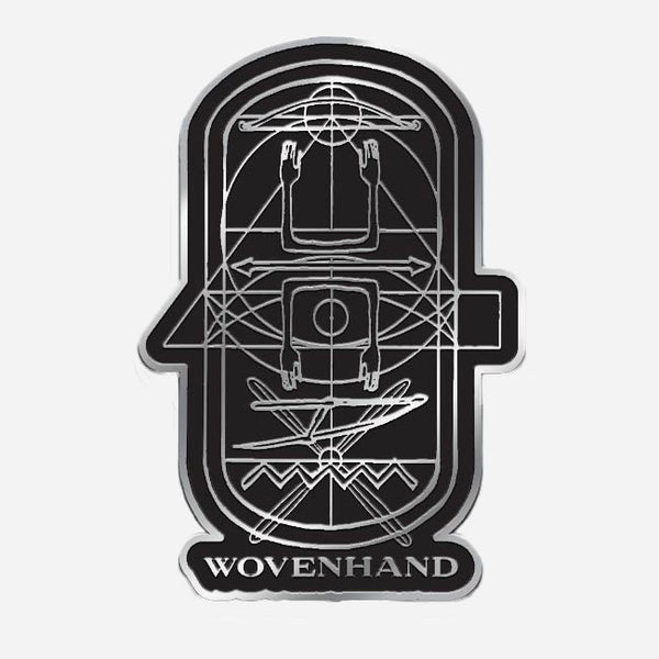 Refractory Obdurate Black & Silver Enamel Pin by Wovenhand for sale on hellomerch.com