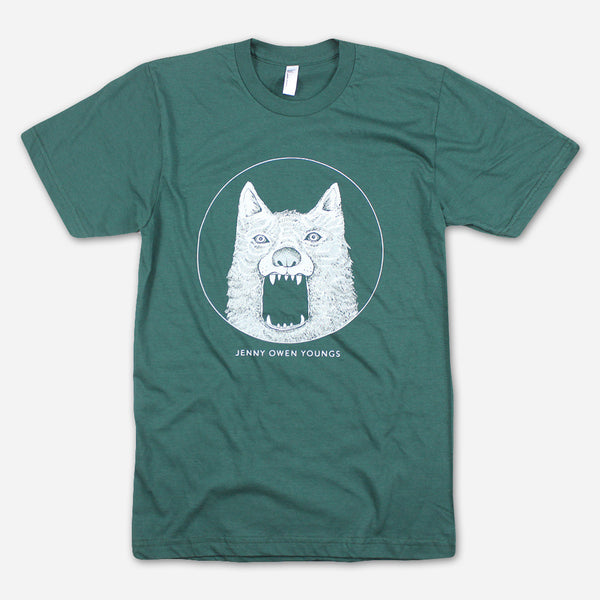 WOLF! Forest Green T-Shirt by Jenny Owen Youngs for sale on hellomerch.com