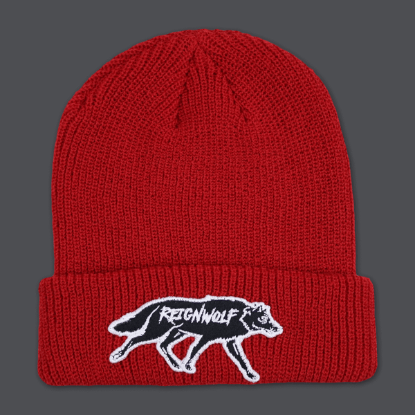 Wolf Patch Red Beanie by Reignwolf for sale on hellomerch.com