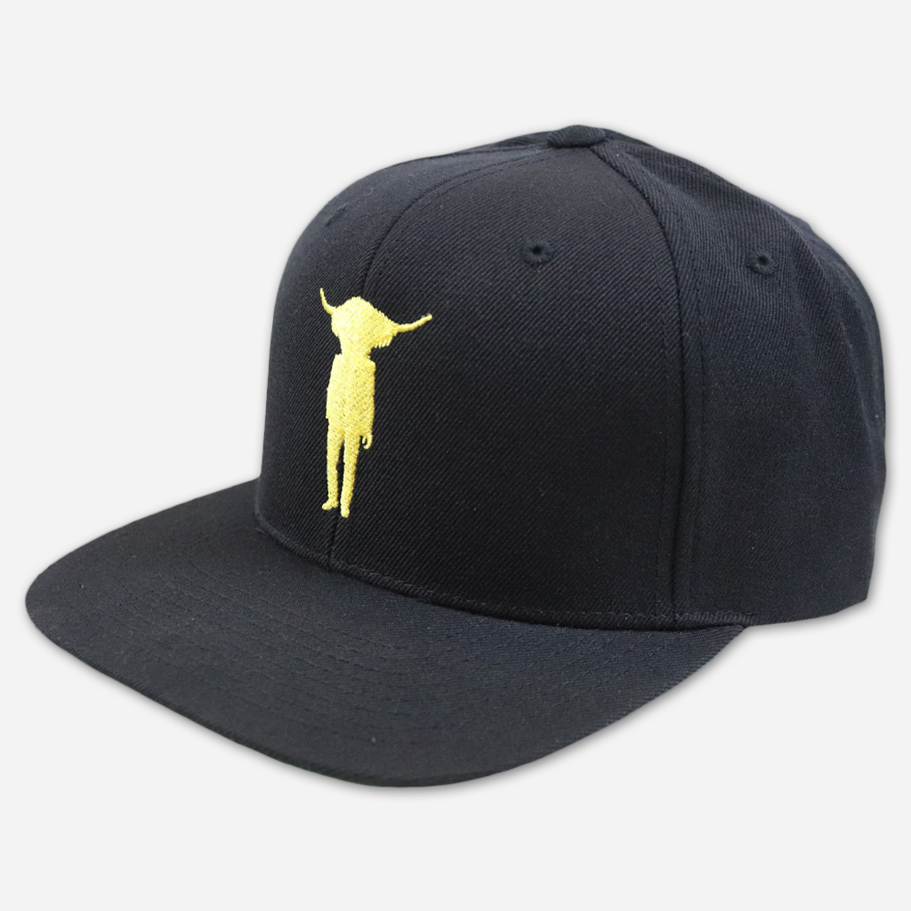 Yak Man Black Snapback Hat