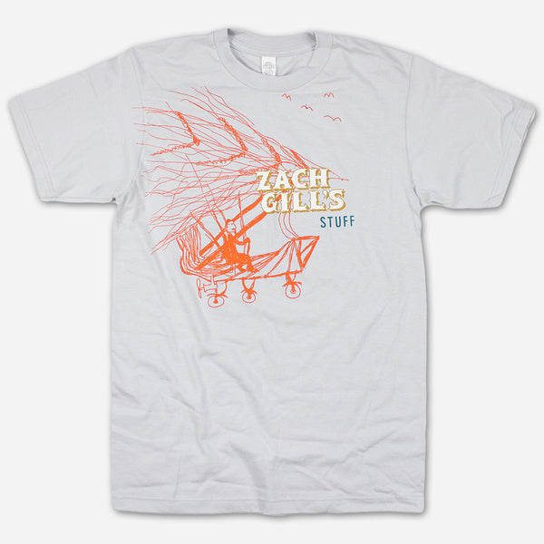 Flying Machine Grey T-Shirt by Zach Gill for sale on hellomerch.com